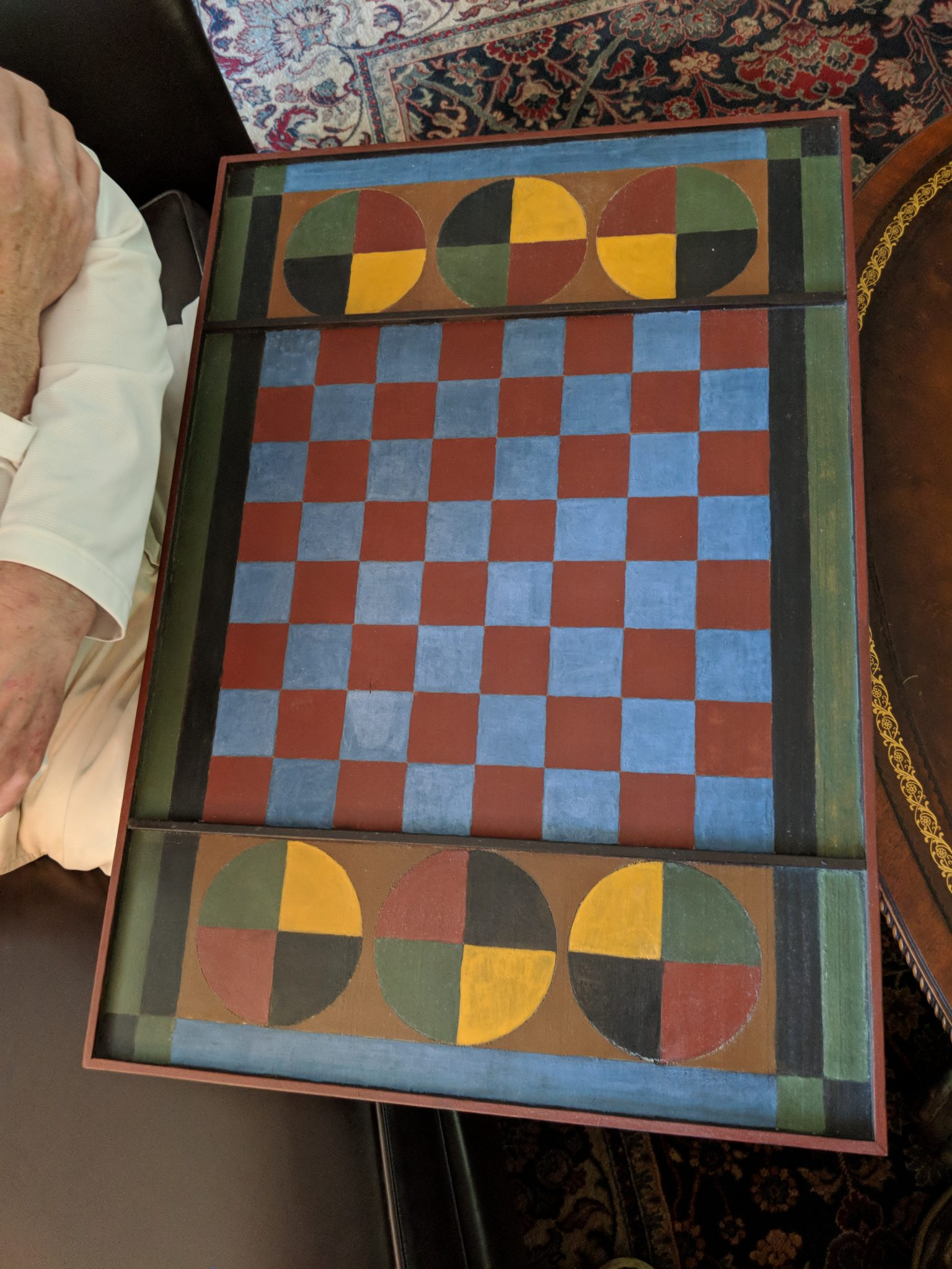 Milk painted game board. Has both Checkers and Parcheesi