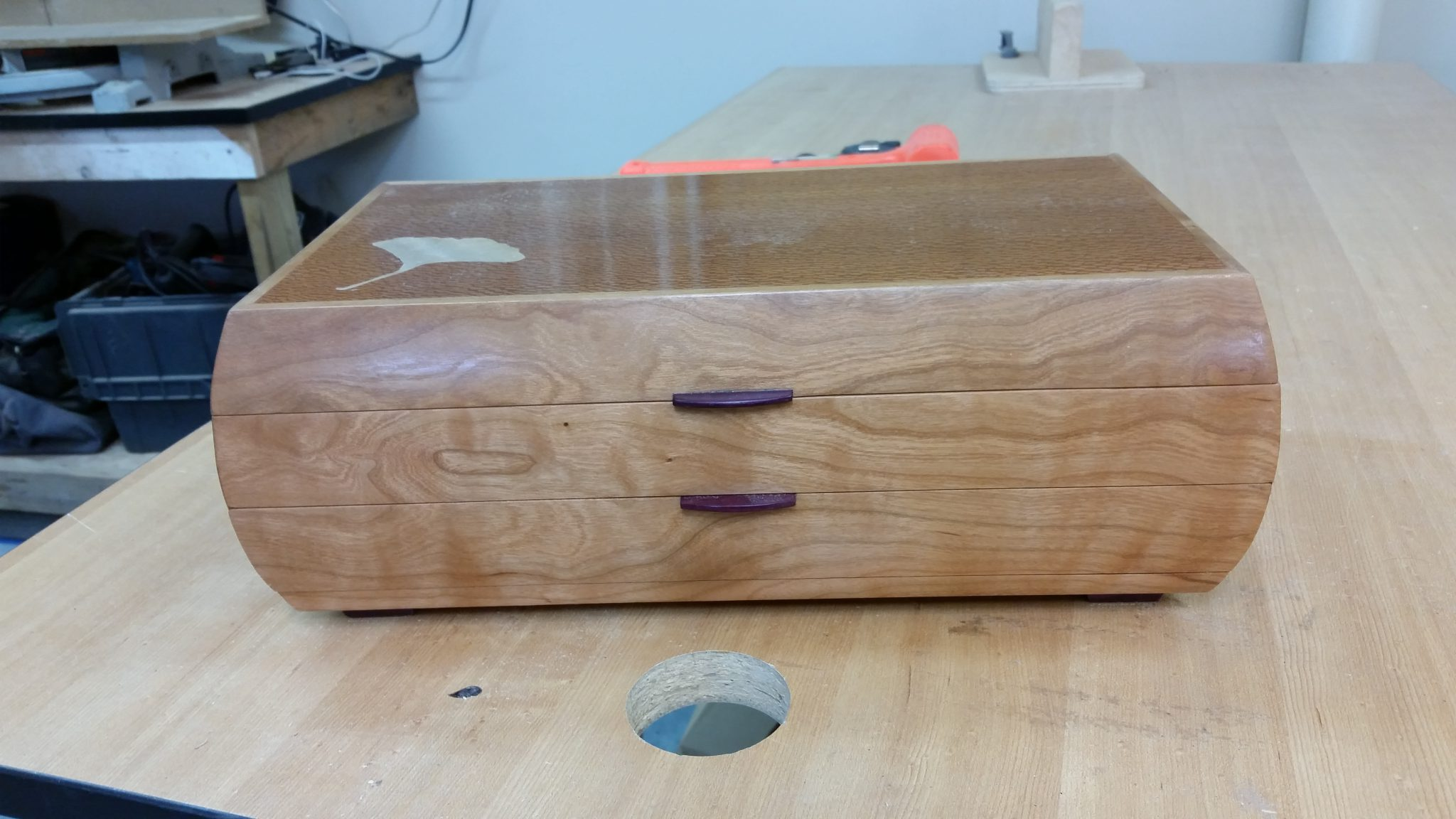 Jewelry box in cherry and lacewood with maple inlay