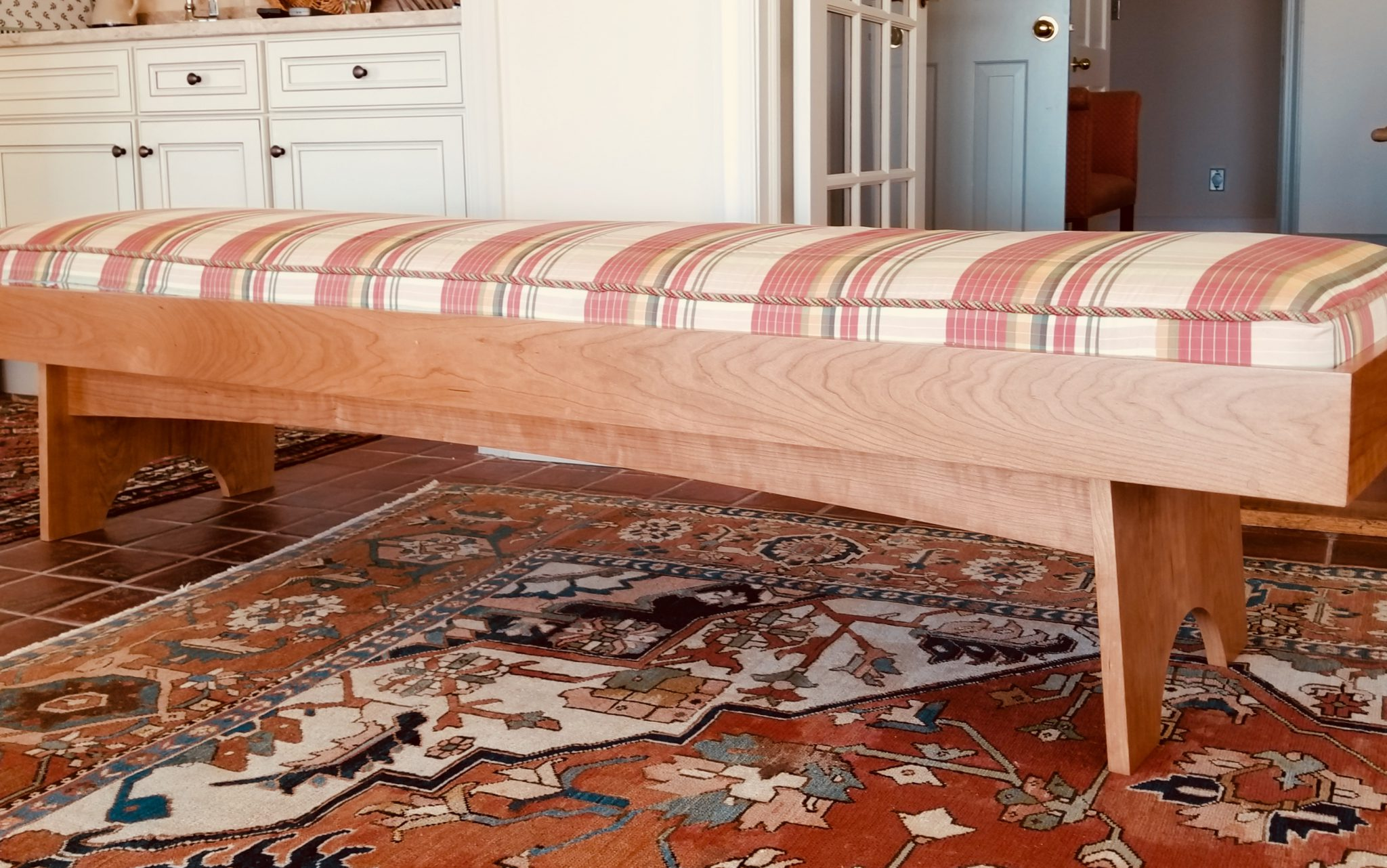 Scandinavian style cherry bench with cushion