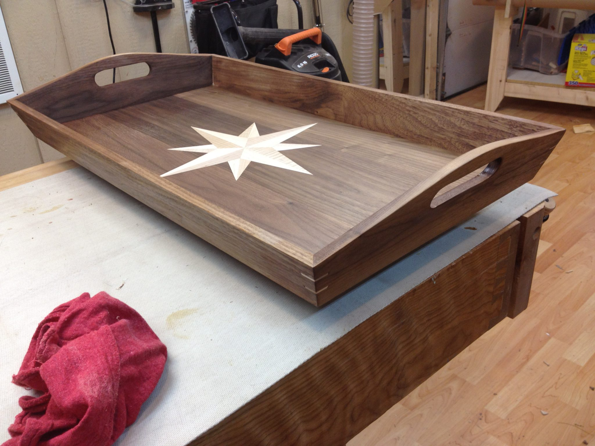 Walnut serving tray with curly cherry and maple inlay
