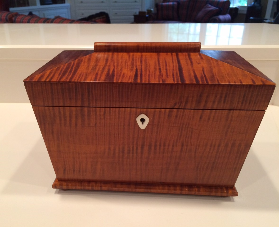 Tea caddy in curly maple