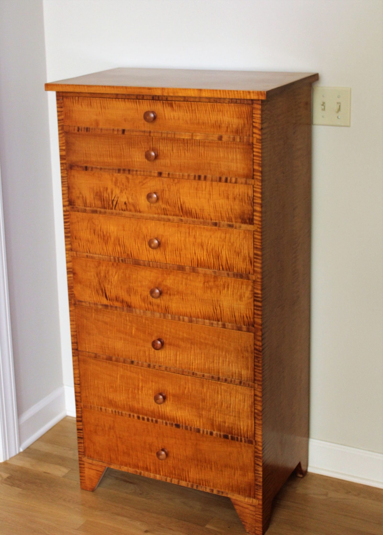 Shaker chest in curly maple