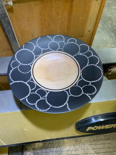 Cherry bowl with painted and hand tooled rim