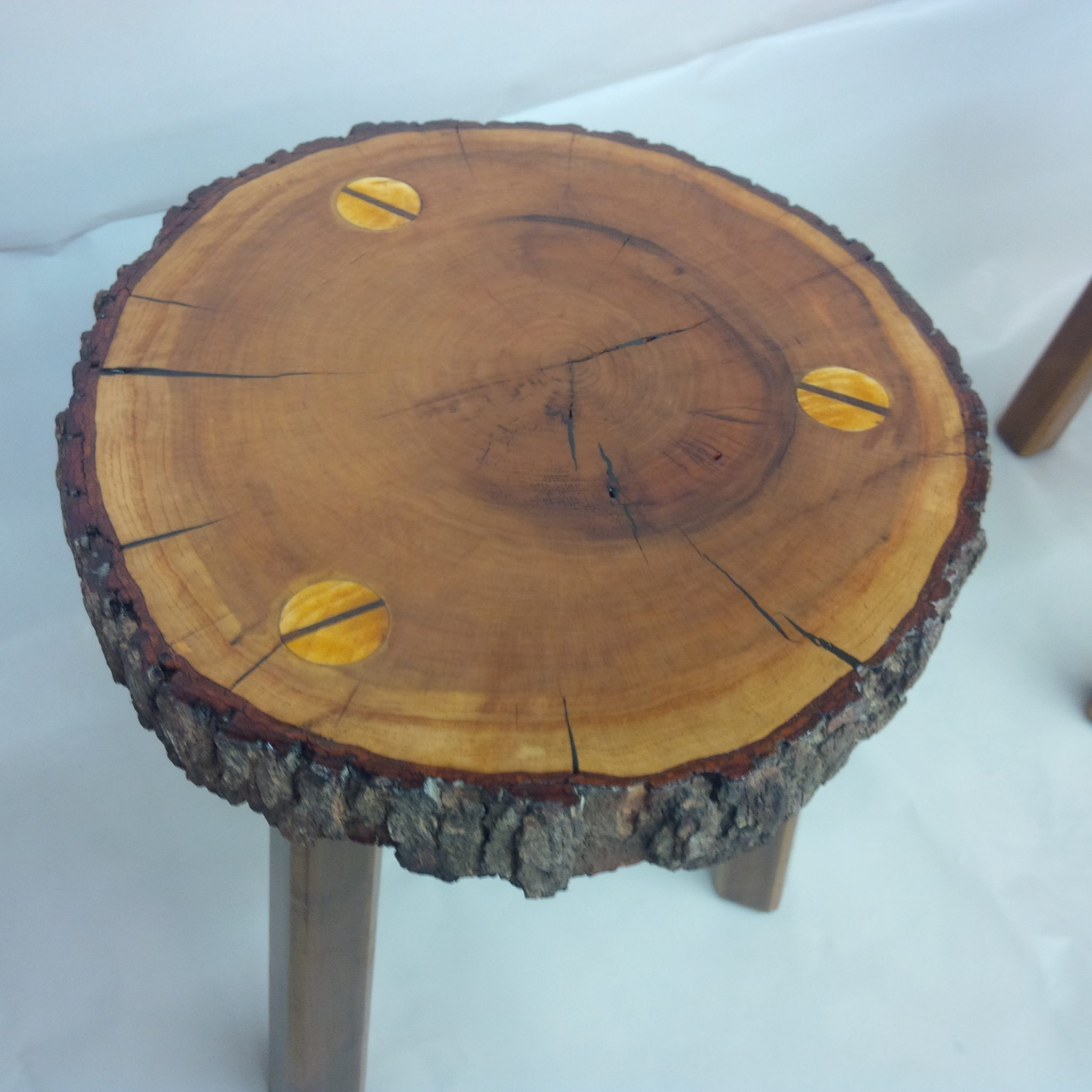 Stools from locally cut pine and filled with epoxy