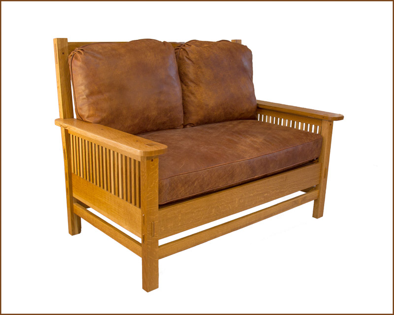 Fumed quartersawn Cradtsman white oak settee with leather upholstery