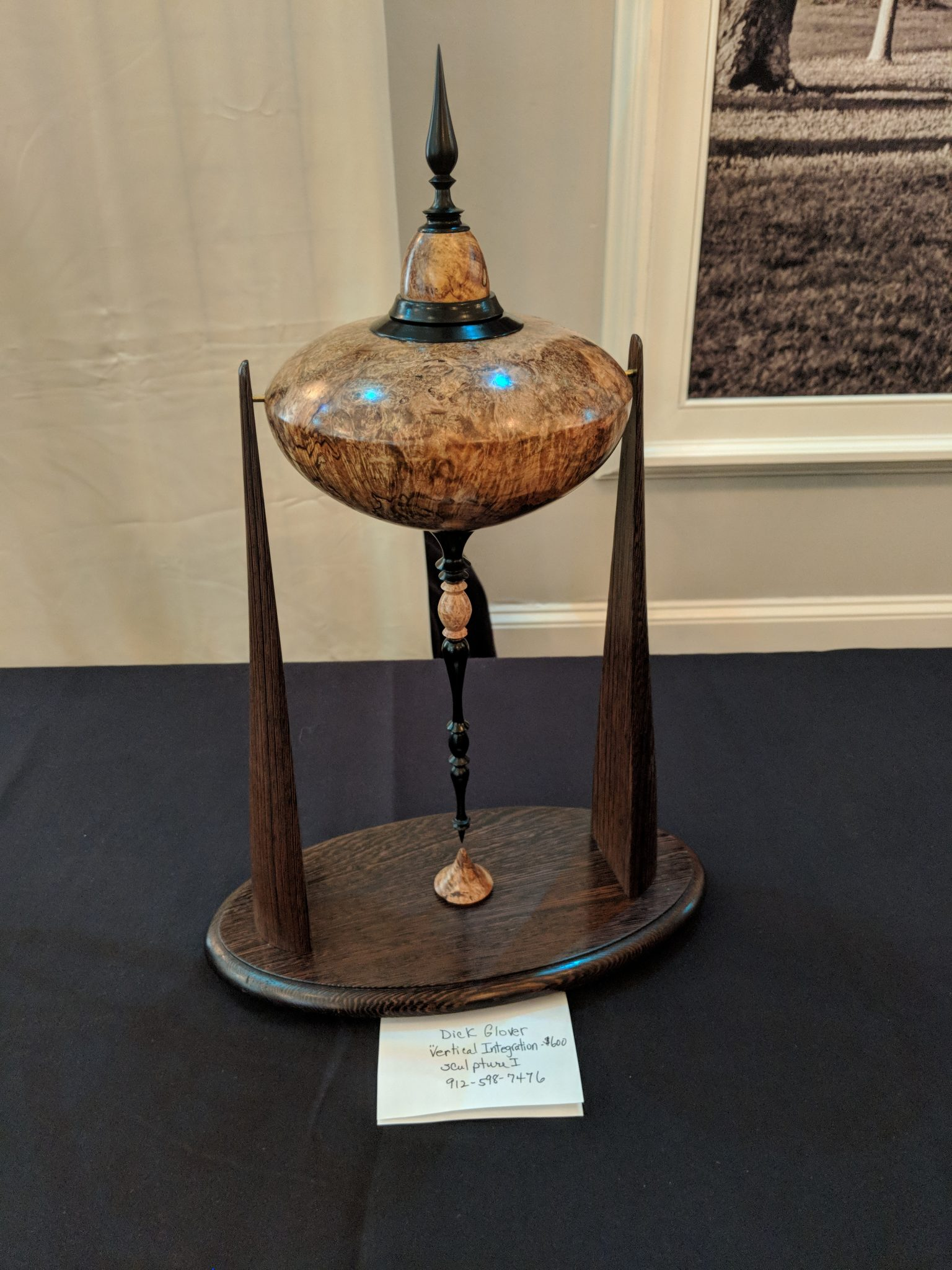 Turned and machined maple burl and wenge scuplture