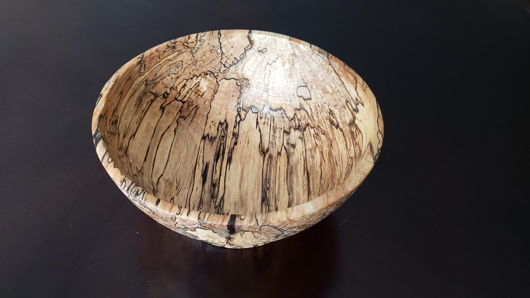 Deep fruit bowl from spalted Maple
