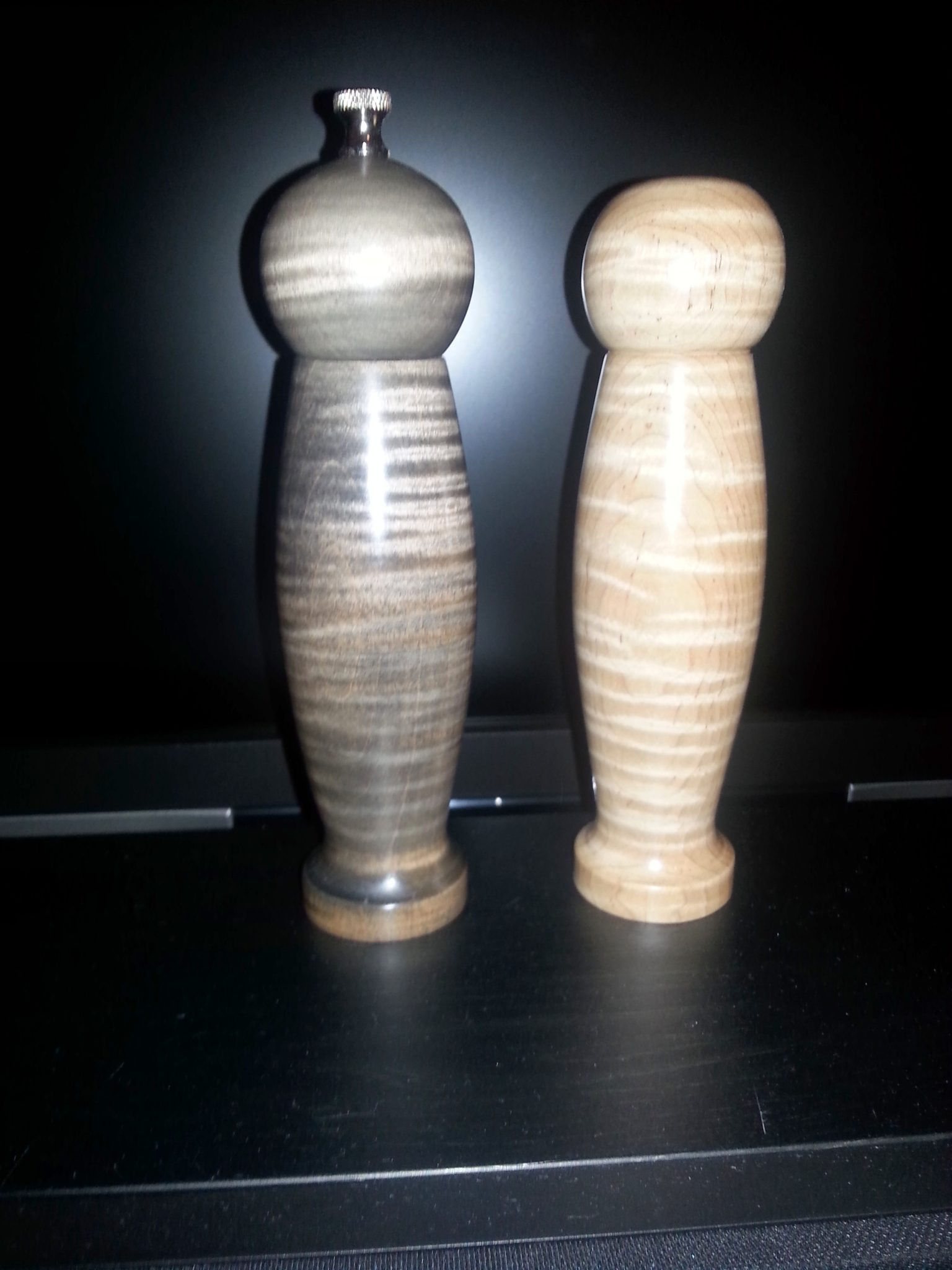 Turned and shaped Salt & Pepper Sets.  Various woods