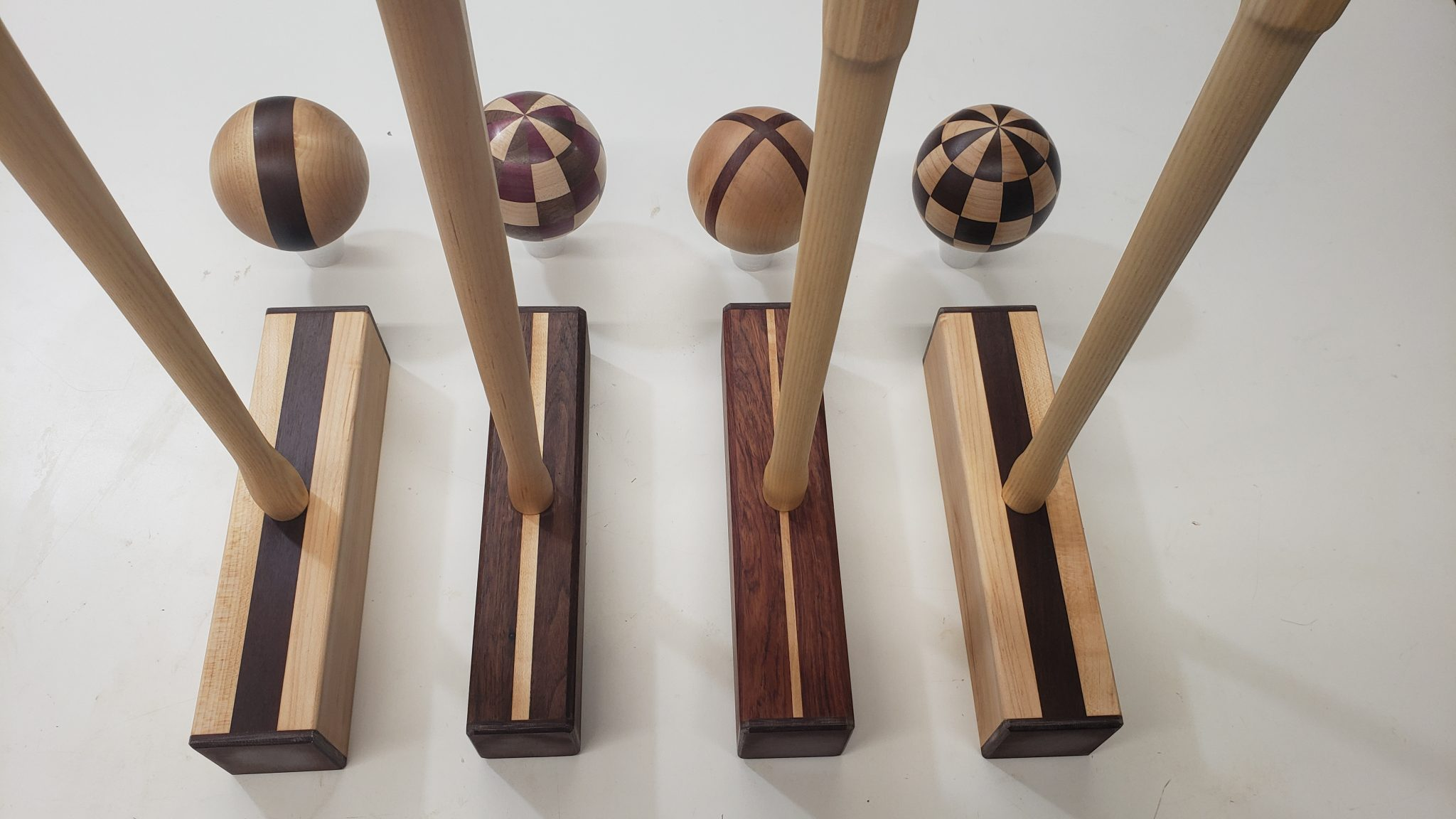 Croquet set made with varied woods