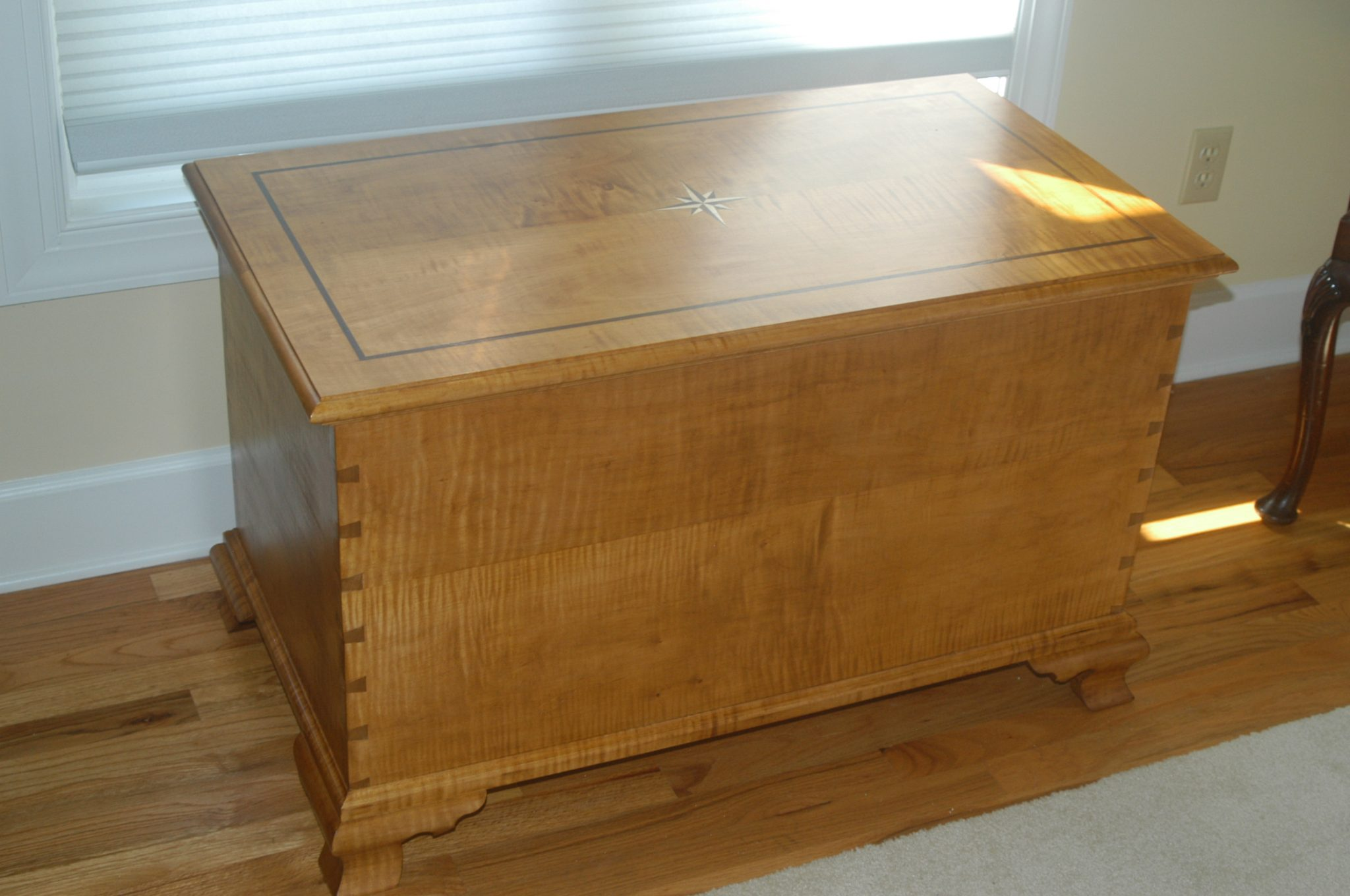 Tiger Maple Blanket Chest, Cedar lined with Compass and Border Inlay in Top and Ogee Feet