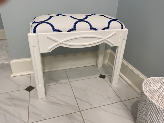 Painted Padded Bathroom Bench Stool