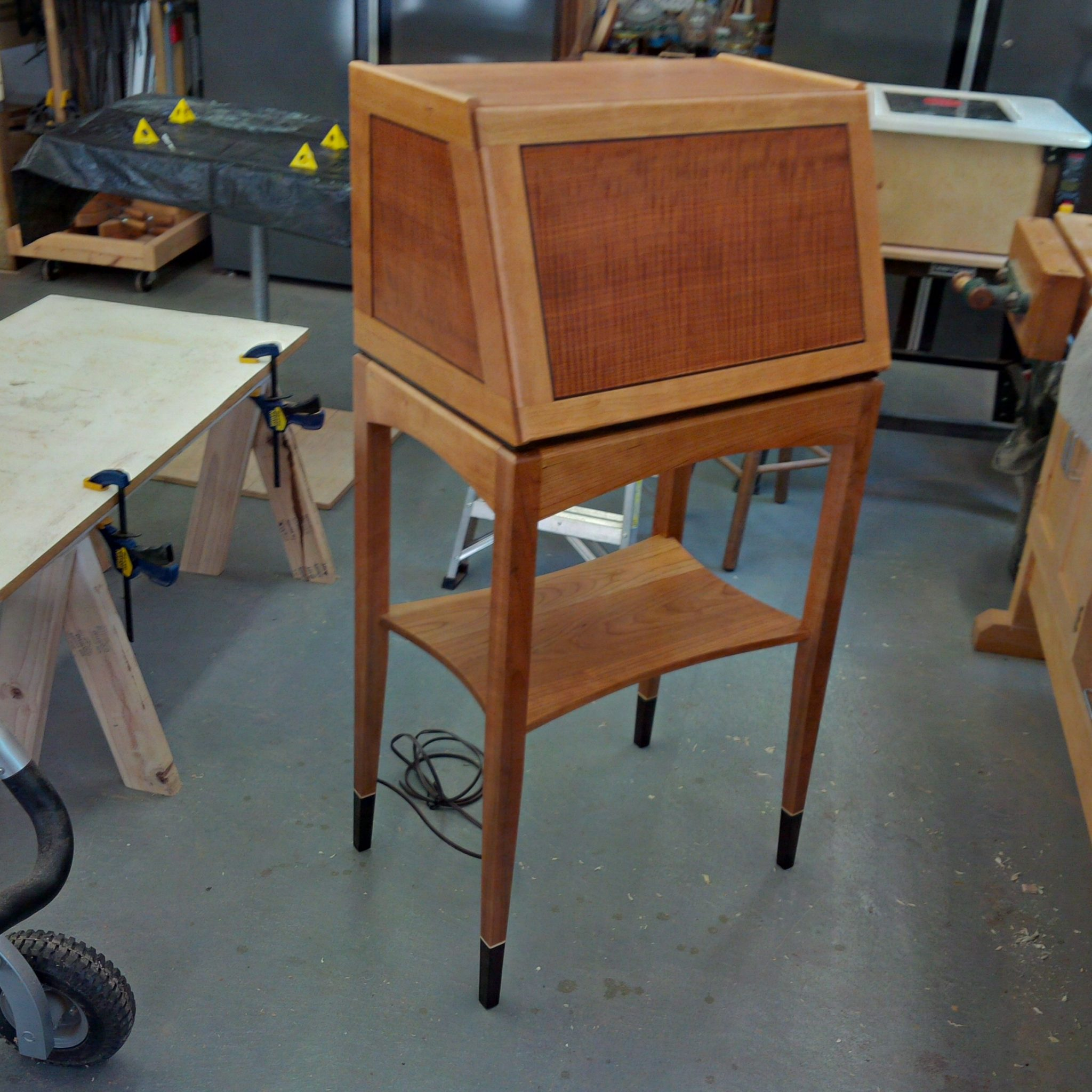 Cherry Slant Top Desk with Makore and Wenge inlayed and Veneered Front and Sides and Wenge Inlayed Feet