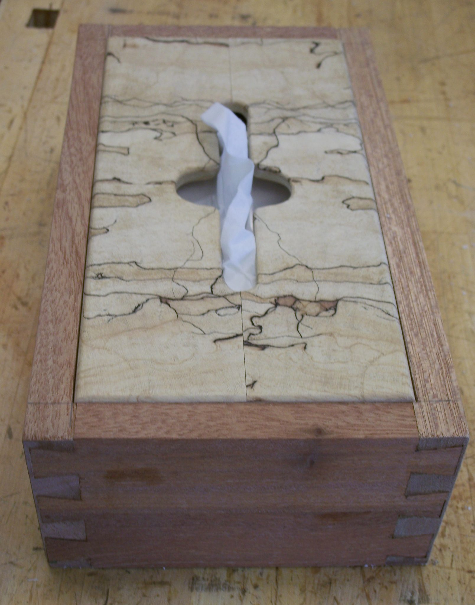 Mahogany and Spalted Maple tissue box.