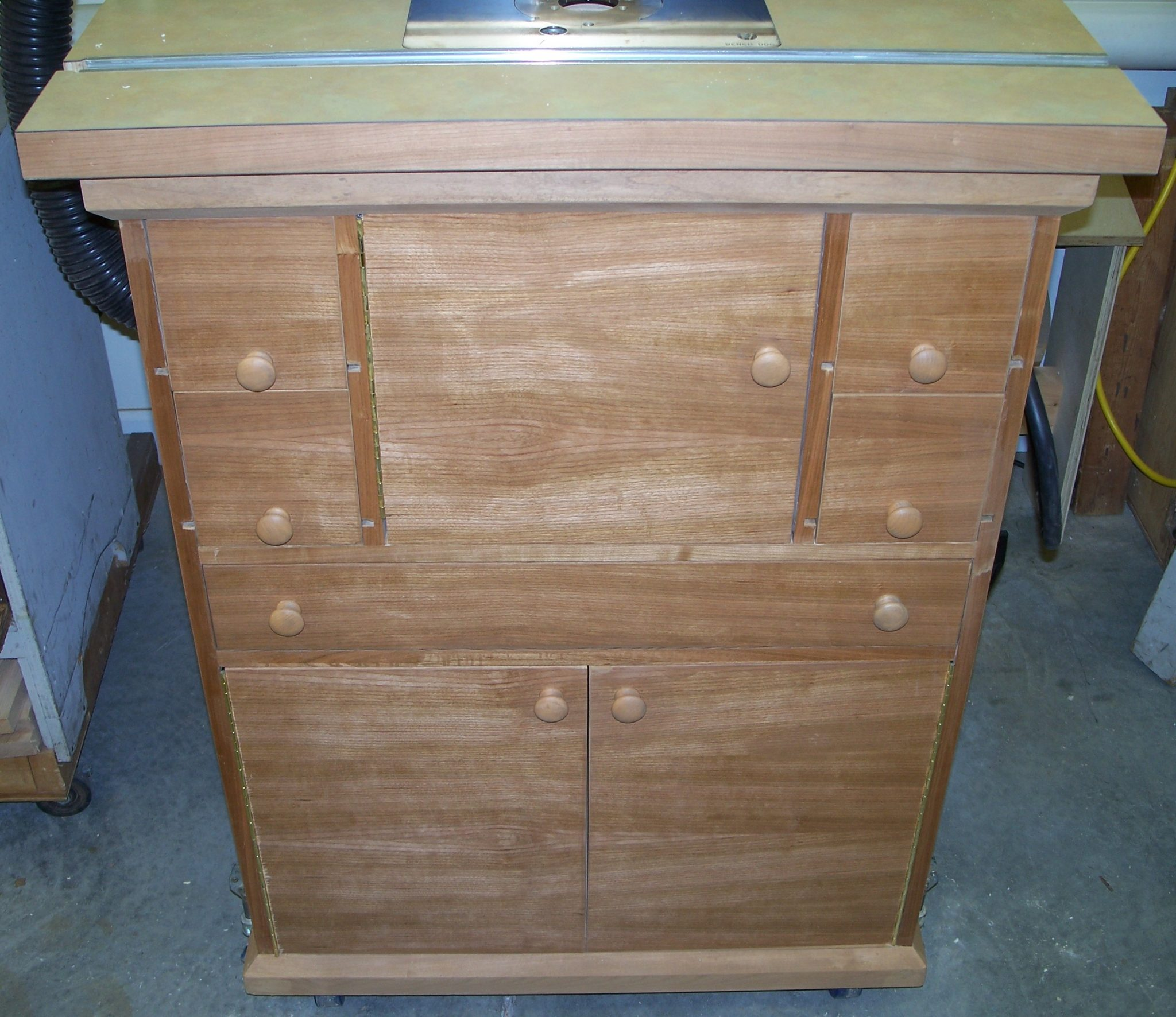 Cherry Plywood Cabinet / Router Table with bit and accessory storage