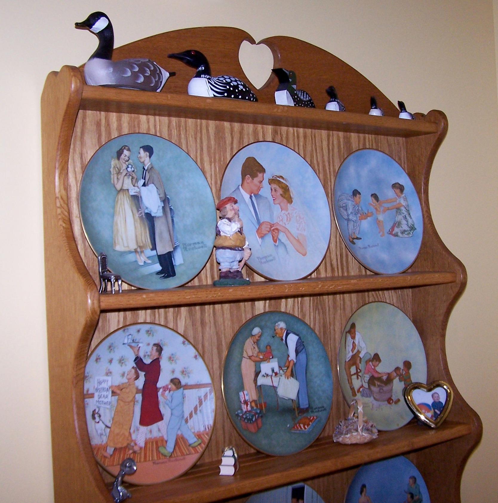 Oak Plate Hutch for displaying a collection of Norman Rockwell Plates.  Designed with a Valentines Theme