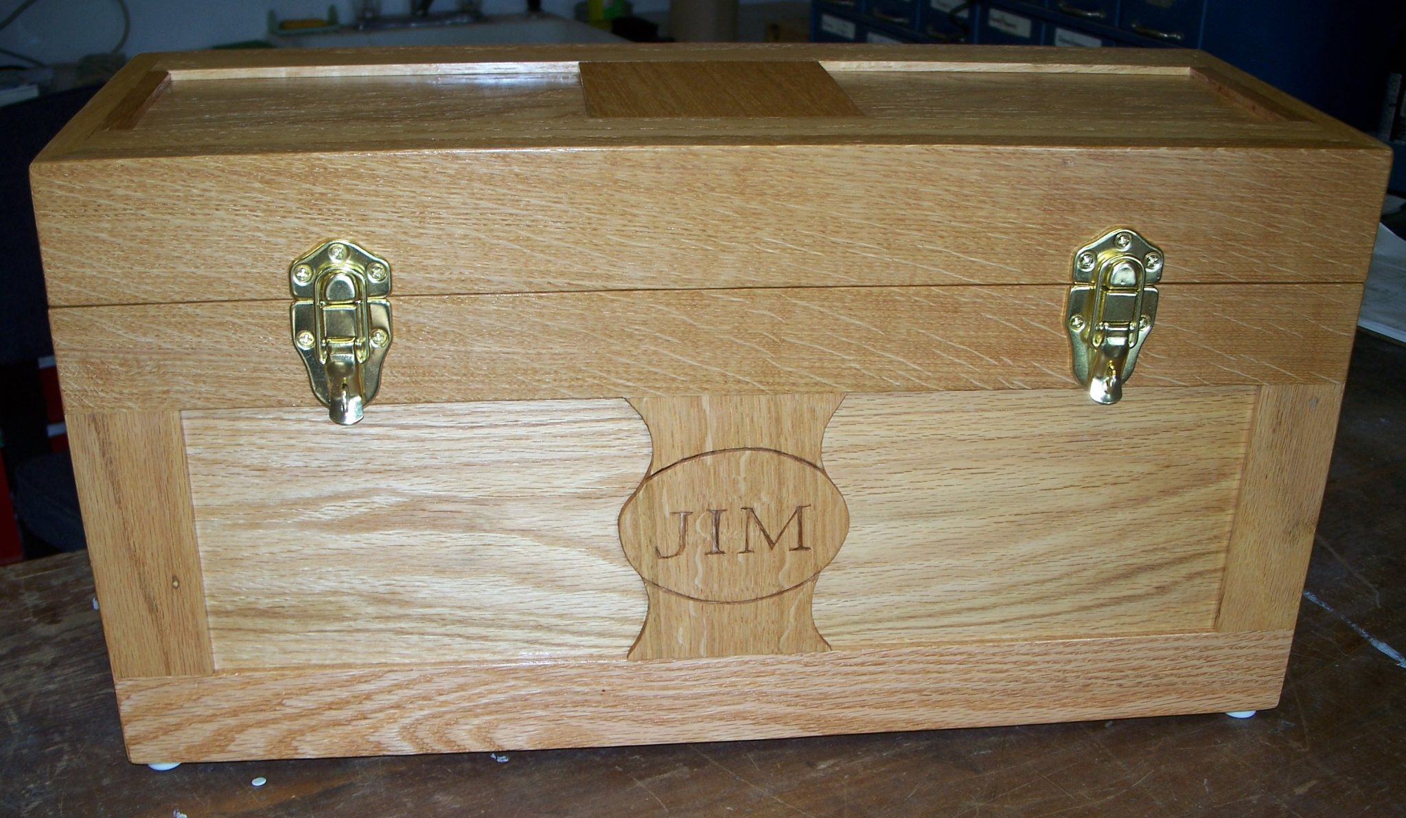 Oak Tool Boxes given to 2 Grandsons.  Populated with a starter set of woodworking tools.