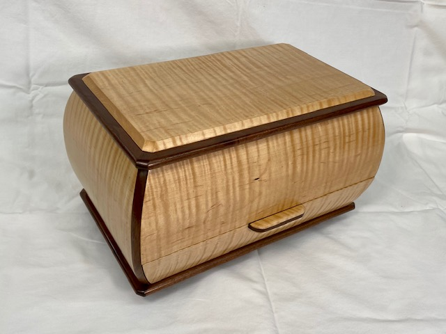 Curly Maple with Walnut Trim Bombe Box with Chest Top and Drawer